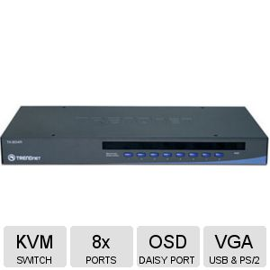 TRENDnet 8-Port KVM Switch w/OSD - TK-804R