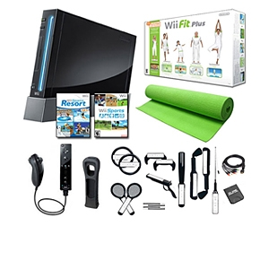 Nintendo Wii Black Console Holiday Fitness Bundle