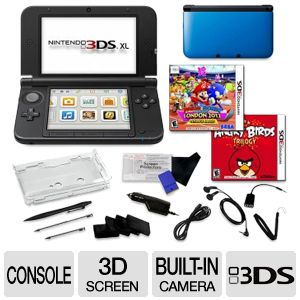 Nintendo 3DS XL Blue 3D Screen 2 Games Bundle