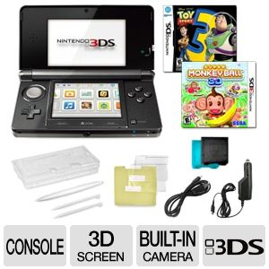 Nintendo 3DS Black 3D Screen 2 Games Bundle