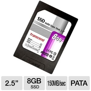 "Transcend TS8GSSD25-S 2.5"" 8GB PATA Solid State HD"