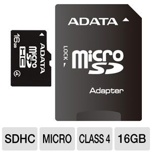 A-Data 16GB microSDHC Flash Card with SD Adapter
