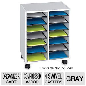 Safco Products Go Cart 14 Shelves Organizer Cart