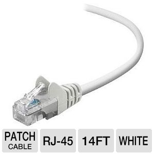 14FT CBL PATCH CAT5E-UTP RJ45M WHT SNAGLESS