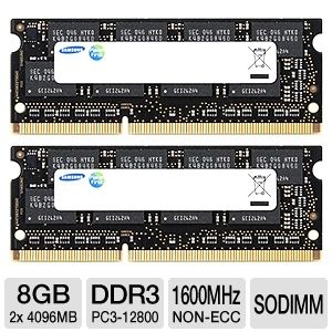 Samsung 8GB (2x 4GB) DDR3-1600MHz Laptop RAM Kit