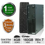 Lenovo M70 Desktop PC - Intel Core 2 Duo E8400 3.00GHz, 4GB Memory, 160GB HDD, DVD, Windows 7 Professional 64-bit (Off-Lease) - RB-LENOVODT00310020