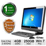"HP 6000 Pro All-In-One PC - Intel Core 2 Duo E7500 2.93GHz, 4GB DDR3 Memory, 250GB HDD, DVD, 21.5"" Display, Windows 7 Professional 64-bit (Off-Lease) - RB-HPDT00310230"