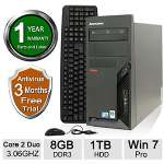 Lenovo M58p Desktop PC - Intel Core 2 Duo 3.06GHz, 8GB DDR3 Memory, 1TB HDD, DVD, Windows 7 Professional 64-bit (Off-Lease) RB-LENOVODT00310029