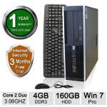 HP Elite 8000 Desktop PC - Intel Core 2 Duo, 3.06 GHz, 4G DDR3, Windows 7 Professional 64 Bit, 160 GB, DVD, USB, VGA, Display port, Integrated Audio, Keyboard, Mouse (Refurbished) - RB-715007672326