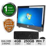 "HP 100 Pro 20"" AIO PC - Intel E3400 Celeron DC, 2.6 GHz, 4 GB DDR3, Windows 7 Professional 64 Bit, 250 GB, DVD, USB, VGA, Display port, Integrated Audio, Keyboard (Refurbished) - RB-715007672364"