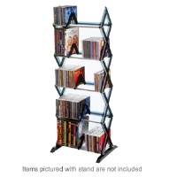 Atlantic 64835195 Mitsu 5 Tier Media Rack - Vertical Design, Lightweight, Wide Feet, Jewel Case, Wall Mounting Brackets, Smoke
