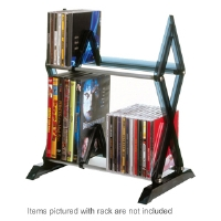 Atlantic 64835193 Mitsu 2 Tier Media Rack - Vertical Design, Lightweight, Wide Feet, Jewel Case, Wall Mounting Brackets, Smoke
