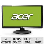 "Acer S220HQL 22"" Class Widescreen LED Backlit Monitor - 1920 x 1080, 16:9, 100000000:1 Dynamic, 1000:1 Native, 60Hz, 5ms, VGA, Energy Star (ET.WS0HP.A01)"