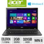 "Intel Celeron 847 1.1GHz, 2GB DDR3, 320GB HDD, 11.6"" Display, Windows 8 64-bit, 4-Cell, Black"