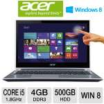 "Acer Aspire V5-471P-6498 Notebook PC - 3rd generation Intel Core i5-3337U 1.8GHz, 4GB DDR3, 500GB HDD, DVDRW, 14"" Multi-Touch Display, Windows 8, Silver (NX.M3UAA.006)"