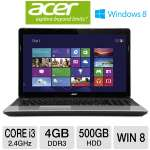 "Acer Aspire E1-571-6680 Notebook PC - 3rd generation Intel Core i3-3110M 2.4GHz, 4GB DDR3, 500GB HDD, DVDRW, 15.6"" Display, Windows 8 (NX.M09AA.016)"