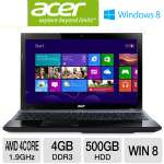 "AMD Quad-Core A8-4500M 1.9GHz, 4GB DDR3, 500GB HDD, DVDRW, 15.6"" Display, Windows 8 64-bit, Black (NX.RZAAA.008)"