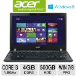 "Acer TravelMate B113-M-6825 NX.V7QAA.009 Notebook PC - 3rd Gen. Intel Core i3-3217U 1.8GHz, 4GB DDR3, 500GB HDD, 11.6"" Display, Windows 7/8 Pro 64-bit"