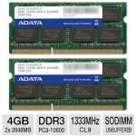 ADATA AD3S1333C2G9-2 Premier Series Notebook Memory Kit - 4GB (2x 2GB), PC3-10600, DDR3-1333MHz, CL9, 204-pin SODIMM, 1.5V, Non-ECC, Unbuffered