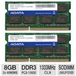 ADATA AD3S1333C4G9-2 Premier Series Notebook Memory Kit - 8GB (2x 4GB), PC3-10600, DDR3-1333MHz, CL9, 204-pin SODIMM, 1.5V, Non-ECC, Unbuffered