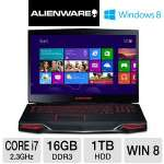"Alienware M18x AM18XR2-8144bk Gaming Laptop - 3rd generation Intel Core i7-3610QM 2.3GHz, 16GB DDR3, 1TB HDD + 32GB SSD, 2GB NVIDIA GTX 660M, Blu-ray Player/DVDRW, 18.4"" Display, Windows 8 64-bit"