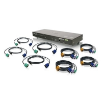 The GCS1808KIT KVM is a combo VGA switch that includes 8 KVM cables - Set of 4 USB and 4 PS/2 KVM cables.