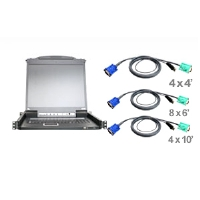 Aten CL5716MUKIT 16-Port 17&quot; LCD USB/PS2 KVM Switch w/ Peripheral Sharing & 16 USB KVM Cables