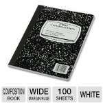 Wireless Composition Book, Wide/Margin Rule, 9-3/4 x 7-1/2, White, 100 Sheets
