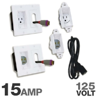 Midlite MDT2A46W3 Decor In-Wall Power Solution - 3' Cord, 125V, 15 Amp, White