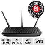 Asus RT-N66U Dual-Band Wireless-N900 Gigabit Router - 802.11n, Up to 450Mbps, 2.4-2.4835GHz, 3x Detachable Antennas, 5x RJ-45 Ports, 2x USB 2.0 Ports