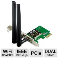 ASUS PCE-N53 Dual-Band Wireless-N600 PCI-E Adapter - PCI Express, IEEE 802.11 a/b/g/n, Dual-Band, WEP, WPA, WPA2, 2x R SMA Antenna