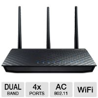 ASUS RT-AC66U 802.11ac Dual-Band Wireless-AC1750 Gigabit Router - 1300Mbps, RJ-45, WAN, 4x LAN Ports, IEEE 802.11ac, 2.4G-2.4835 GHz/5.1-5.8 GHz, 3x Detachable antennas