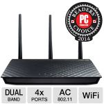 Asus Dual-Band Wireless Gigabit Router - IEEE 802.11a/b/g/n/ac, 1300Mbps, 2.4GHz - 5.8GHz, 4x RJ-45 Ports, 3x Detachable Antennas - RT-AC66U