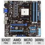 Asus F2A55-M/CSM Socket FM2 Motherboard - MicroATX, Socket FM2, AMD A55 FCH, DDR3 2400(O.C.) MHz, RAID, 8-CH Audio, Gigabit LAN, USB 3.0, PCIe 2.0, Quad-GPU CrossFireX Ready