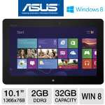 "ASUS VivoTab RT Tablet - NVIDIA Tegra 3 1.3GHz, 2GB DDR3, 32GB Flash, 10.1"" Touchscreen, Windows 8 RT, Dual Webcams, WiFi, Gray, Keyboard Dock (TF600T-B1-GR-CB)"