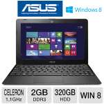 "ASUS 1015E-DS01 Notebook PC - Intel Celeron 847 1.1GHz, 2GB DDR3, 320GB HDD, 10.1"" Display, Windows 8 64-bit, Black"