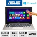 "ASUS VivoBook X202E-DH31T - 3rd generation Intel Core i3-3217U 1.8GHz, 4GB DDR3, 500GB HDD, 11.6"" Touchscreen, Windows 8 64-bit, Silver/Black"