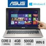 "ASUS VivoBook X202E-DH31T-SL - 3rd generation Intel Core i3-3217U 1.8GHz, 4GB DDR3, 500GB HDD, 11.6"" Touchscreen, Windows 8 64-bit, Silver/Champagne"