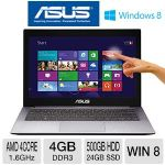 "ASUS U38N-DS81T Laptop Computer - AMD Quad-Core A8-4555M 1.6GHz, 4GB DDR3, 500GB HDD + 24GB SSD Cache, 13.3"" Full HD Touchscreen Display, Windows 8 64-bit (U38N-DS81T)"