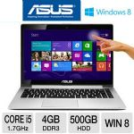 "ASUS Vivobook S400CA Ultrabook - 3rd generation Intel Core i5-3317U 1.7GHz, 4GB DDR3, 500GB HDD + 24GB SSD Cache, 14.1"" Touchscreen, Windows 8 64-bit (S400CA-DH51T)"