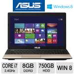 "ASUS K55A-DS71 Notebook PC - 3rd generation Intel Core i7-3630QM 2.4GHz, 8GB DDR3, 750GB HDD, DVDRW, 15.6"" Display, Windows 8 64-bit, Brown"