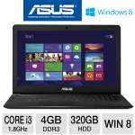 ASUS X502CA-TS31 SlimBook Laptop Computer - 3rd generation Intel Core i3-3217U 1.8GHz, 4GB DDR3, 320GB HDD, 15.6&quot; Display, Windows 8 64-bit, Black