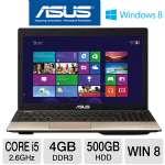 ASUS A55A-TS51 Laptop Computer - 3rd generation Intel Core i5-3230M 2.6GHz, 4GB DDR3, 500GB HDD, DVDRW, 15.6&quot; Display, Windows 8 64-bit
