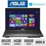 "ASUS K55N-DS81 Laptop Computer - AMD Quad-Core A8-4500M 1.9GHz, 4GB DDR3, 500GB HDD, DVDRW, AMD Radeon HD 7640G, 15.6"" Display, Windows 8 64-bit"