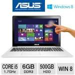"ASUS VivoBook S500CA-DS51T Ultrabook - 3rd generation Intel Core i5-3317U 1.7GHz, 6GB DDR3, 500GB HDD + 24GB SSD, 15.6"" Touchscreen Display, Windows 8 64-bit, Black"
