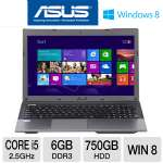 "ASUS A55A-TH52 Laptop Computer - 3rd generation Intel Core i5-3210M 2.5GHz, 6GB DDR3, 750GB HDD, Blu-ray Player/DVDRW, 15.6"" Display, Windows 8 64-bit, 1-Year Warranty, 1-Year Accidental"