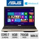 "ASUS A55VD-TH71 Notebook PC - 3rd generation Intel Core i7-3630QM 2.4GHz, 6GB DDR3, 750GB HDD, DVDRW, 2GB NVIDIA GeForce 610M, 15.6"" Display, Windows 8 64-bit, Brown"