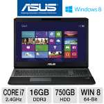 ASUS G75VX-TS72 Gaming Laptop - 3rd generation Intel Core i7-3630QM 2.4GHz, 16GB DDR3, 750GB HDD, Backlit Keyboard, 3GB NVIDIA GTX 670MX, Blu-ray Player/DVDRW, 17.3&quot; Full HD, Windows 8 64-bit