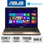 "ASUS A75VJ-TH71 Laptop Computer - 3rd gen Intel Core i7-3630QM 2.4GHz, 8GB DDR3, 750GB HDD, DVDRW, 2GB NVIDIA GT 635M, 17.3"" Display, Windows 8 64-bit, Smokey Brown, 1-Year Warr., 1-Year Acc."