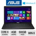 "ASUS F75A-EH51 Laptop Computer - 3rd generation Intel Core i5-3210M 2.5GHz, 4GB DDR3, 500GB HDD, DVDRW, 17.3"" Display, Windows 8 64-bit, 1-Year Warranty, 1-Year Accidental"